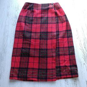 Barrie Stephens Fleece Wrap Skirt Plaid Tartan